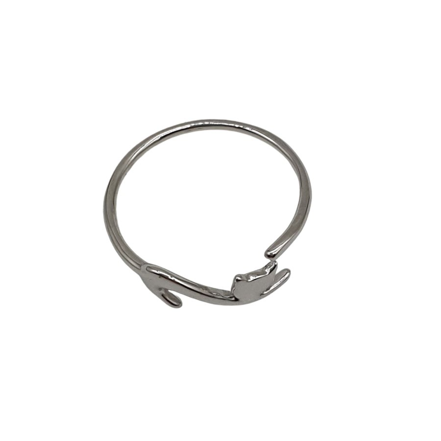 Stg Silver Cat Wrap Ring