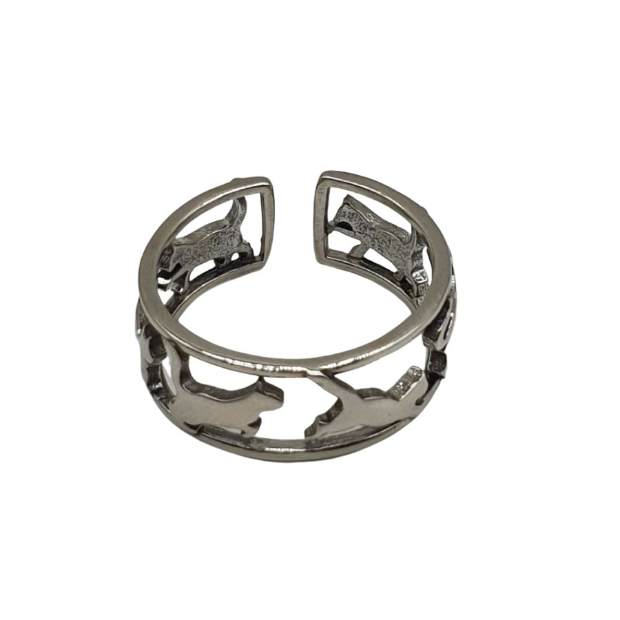 Stg Silver Six Cats Ring
